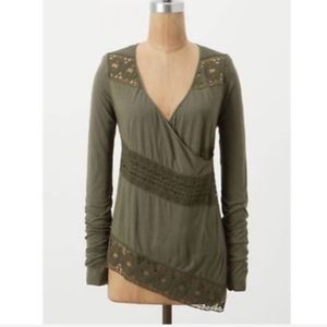 Anthropologie Tiny Green Lace Wrap Cardigan